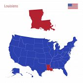 The State Of Louisiana Is Highlighted In Red. Blue Vector Map Of The United States Divided Into Sepa poster