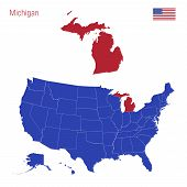 The State Of Michigan Is Highlighted In Red. Blue Vector Map Of The United States Divided Into Separ poster