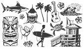 Vintage Surfing Elements Monochrome Collection With Animals Surfer Surfboards Tribal Mask Ukulele Fl poster