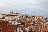 Panorama Of Alfama Quarter In Lisbon, Portugal