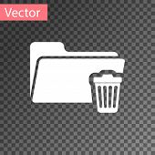 White Delete Folder Icon Isolated On Transparent Background. Folder With Recycle Bin. Delete Or Erro poster