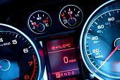 stock photo of mph  - Close up of car dashboard on sports car - JPG