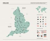 Vector Map Of England.  High Detailed Country Map With Division, Cities And Capital London. Politica poster
