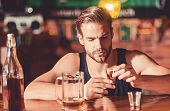 Heavy Drinking Is Bad. Alcoholic Man Drinking At Bar Counter. Man Drink Strong Alcoholic Beverage An poster