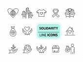 Solidarity Icons. Line Icons Collection On White Background. Charity Foundation, World Peace, Ribbon poster