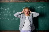Study And Education. Modern School. Knowledge Day. Teacher On School Lesson At Blackboard. Woman In  poster