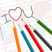 Hand-drawn i love u messages on notebook paper with colorful pencils for Valentines Day and other occasions.