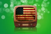 Old Tv Isolated On A Green Bokeh Background