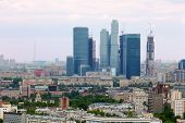 panorama of Moscow City complex of skyscrapers at dull day in Moscow, Russia