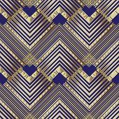 Striped Zigzag Geometric Vector Seamless Pattern. Ornamental Zig Zag Background. Geometry Repeat Dar poster