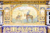 tile painting, Spanish Square (Plaza de Espana), Seville, Andalusia, Spain