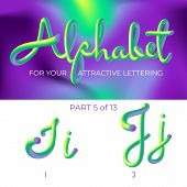 3d Neon Led Alphabet Font. Logo J Letter, I Letter With Rounded Shapes. Matte Three-dimensional Lett poster