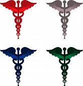 Color caduceus symbols