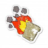 retro distressed sticker of a cartoon burnt toast poster