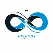 Infinite Friendship, Friends Forever, Special Vector Logo Combined With Two Symbols Of Eternity Loop poster