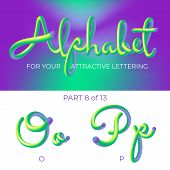 3d Neon Led Alphabet Font. Logo O Letter, P Letter With Rounded Shapes. Matte Three-dimensional Lett poster