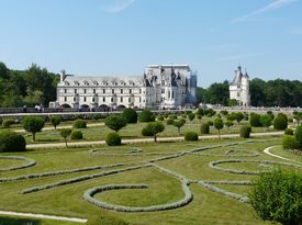 stock photo of poitiers  - Diane de Poitiers Gardens at the Chateau de Chenonceau - JPG
