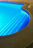 Lightened swimming pool in the night