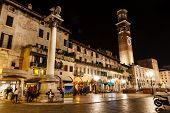 Lamperti Tower And Piazza Delle Erbe At Night, Verona, Veneto, Italy