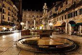 Statue Of The Madonna On Piazza Delle Erbe At Night, Verona, Veneto, Italy