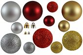 Gold Silver and Red Christmas Balls Isolated on white