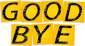 image of bye  - Inscription Good bye on the yellow square stickers - JPG