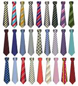 picture of stiff  - illustration of a set of male business ties on a white background - JPG