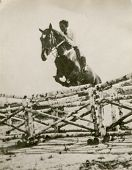 Vintage photo of woman riding a horse (forties)