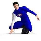 Blue Super Hero Saving The World