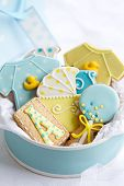 stock photo of babygro  - Baby shower cookies - JPG
