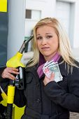 a young woman at a gas station gasoline tank. the cost of the car because of the gas prices are getting more expensive