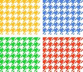 Houndstooth seamless pattern, four colors set, vector