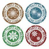 Selos de feliz Natal do grunge