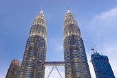 stock photo of petronas towers  - Twin towers at Kuala Lumpur  - JPG