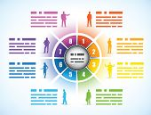 Cog or wheel diagram for a business presentation template divided into eight different colored numbe