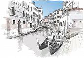 Ponte del Mondo Novo, Campo S.Maria Formosa. Venice, Italy. Vector drawing