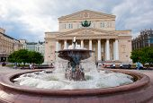 Fountain in front of Bolshoi Theater (Large, Great or Grand Theater, also spelled Bolshoy) at day time, Moscow, Russia