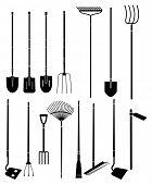 Silhouette set of long handled gardening tools