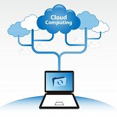 Concepto de Cloud computing. Laptop sincronizar datos ubicados en la