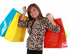 Beautiful Shopping Woman Holding A Lot Of Shopping Bags Looking To The Camera. Isolated On White Bac