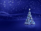 picture of christmas lights  - Sparkling decorated Christmas tree with snowflakes and stardust - JPG