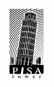 Pisa tower. Vector illustration in the engraving style