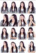 pic of long tongue  - Multiple facial expressions of beautiful Asian woman isolated over white - JPG