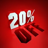 20% off, percent in white letters on a red background
