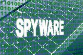 Spyware texto sobre código binário