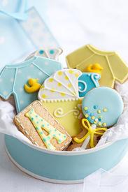 stock photo of babygro  - Baby shower cookies - JPG