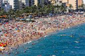Beach At Lloret De Mar In Spain