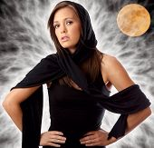 Portrait Of A Beautiful Young Sorceress In Black  ~ Fantasy Background With Full Moon