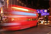 Classic London Bus At Night
