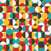 pic of zigzag  - Retro seamless pattern with circles - JPG